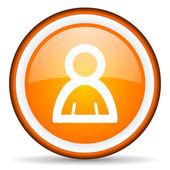 Contact orange glossy circle icon on white background — Stock Photo