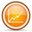 Chart orange glossy circle icon on white background — Stock Photo