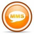 Mms orange glossy circle icon on white background — Stock Photo #16233729