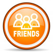 Stock Photo: Friends orange glossy circle icon on white background