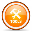 Tools orange glossy circle icon on white background — Stock Photo #16233979
