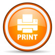 Stock Photo: Print orange glossy circle icon on white background