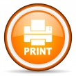 Print orange glossy circle icon on white background - Stock Photo