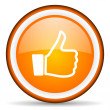 Stock Photo: Thumb up orange glossy circle icon on white background
