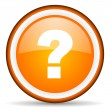 Question mark orange glossy circle icon on white background - Foto Stock
