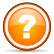 Question mark orange glossy circle icon on white background - Stok fotoğraf