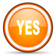 Yes orange glossy circle icon on white background — Stock Photo