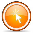 Click here orange glossy circle icon on white background — Stock Photo #16234395