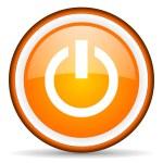 Power orange glossy circle icon on white background — Stock Photo #16234465
