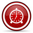Alarm clock red glossy icon on white background — Stock Photo