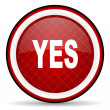 Yes red glossy icon on white background — Stock Photo