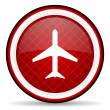 Airplane red glossy icon on white background - Stock Photo