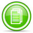 Document green glossy icon on white background — Stock Photo