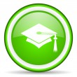 Graduation green glossy icon on white background — ストック写真