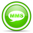 Stock Photo: Mms green glossy icon on white background