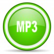 Mp3 green glossy icon on white background — Stock Photo