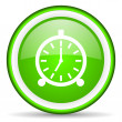 Stock Photo: Alarm clock green glossy icon on white background
