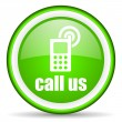 Call us green glossy icon on white background — Stock Photo