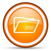 Folder orange glossy circle icon on white background — Stock Photo
