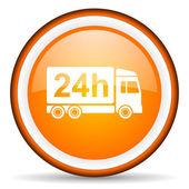 Dostawa 24h pomarańczowe koło błyszczący ikona na białym tle — Zdjęcie stockowe