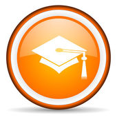 Graduation orange glossy circle icon on white background — Stock Photo