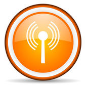 Wifi orange glossy circle icon on white background — Stock Photo