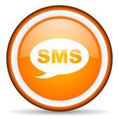 Sms orange glossy circle icon on white background — Stock Photo