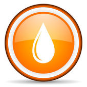 Water drop orange glossy circle icon on white background — Stock Photo