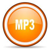 Mp3 orange glossy circle icon on white background — Stock Photo