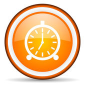Alarm clock orange glossy circle icon on white background — Stock Photo
