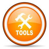 Tools orange glossy circle icon on white background — Stock Photo