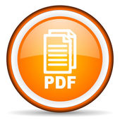 Pdf orange glossy circle icon on white background — Stock Photo