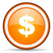 Us dollar orange glossy circle icon on white background — Stock Photo