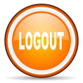 Logout orange glossy circle icon on white background — Stock Photo