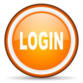 Login orange glossy circle icon on white background — Stock Photo