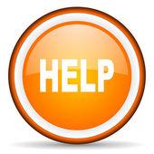 Help orange glossy circle icon on white background — Stock Photo