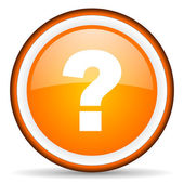 Question mark orange glossy circle icon on white background — Stock Photo