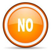 No orange glossy circle icon on white background — Stock Photo