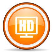 Hd display orange glossy circle icon on white background — Stock Photo