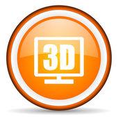 3d display orange glossy circle icon on white background — Stock Photo