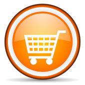 Zakupy koszyka pomarańczowe koło błyszczący ikona na białym tle — Zdjęcie stockowe
