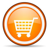 Winkelen kar oranje glanzende cirkel pictogram op witte achtergrond — Stockfoto