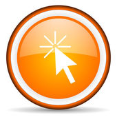 Click here orange glossy circle icon on white background — Stock Photo