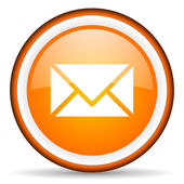 Mail orange glossy circle icon on white background — Stock Photo