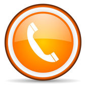 Telephone orange glossy circle icon on white background — Stock Photo