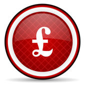 Pound red glossy icon on white background — Stock Photo