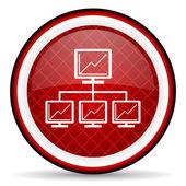 Icona lucido rete rossa su sfondo bianco — Foto Stock
