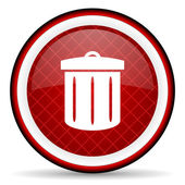 Recycle red glossy icon on white background — Stock Photo