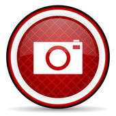Camera red glossy icon on white background — Stock Photo