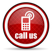 Call us red glossy icon on white background — Stock Photo